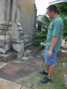 ... the Marsh Mausoleum actually is shedding its skin, as pointed out by Dustin Hornsby, Oakland Cemetery's restoration manager.  Credit: David Pendered