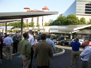 Solar panels installed above a parking lot help power Ted Turner's building in downtown Atlanta. Credit: David Pendered