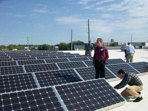 Solar panels on the roof the Atlanta Community Food Bank. Credit: David Pendered