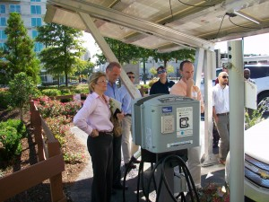 Solar powered charger for electric vehicles at Atlantic Station. Credit: David Pendered