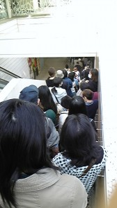 Long line for eggs after the March 11, 2011 earthquake in Japan