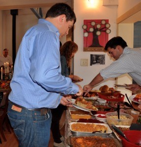 At the serving table
