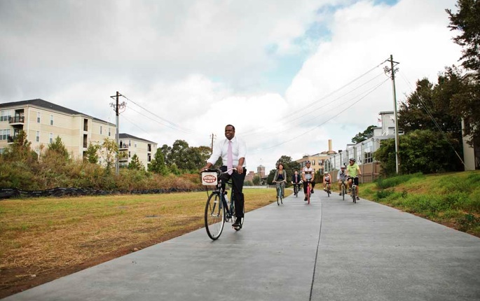 Mayor Kasm Reed on opening day of the Eastside Trail