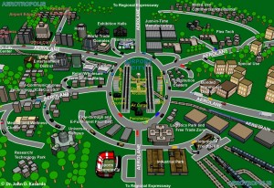ARC is promoting development around Atlanta's airport that would create the type of community described by John Kasarda, who heads UNC's Center for Air Commerce. Credit: aerotropolis.com