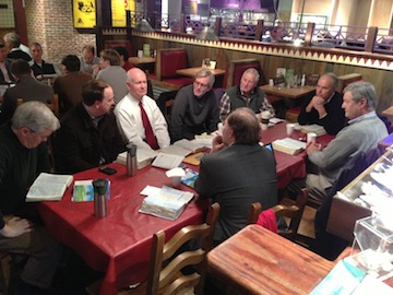 My Friday Morning Men's Fellowship table at On the Border, which helped inspire Moments.