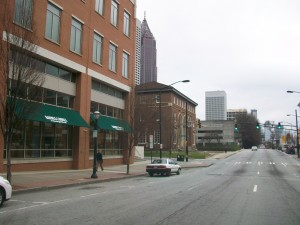 Spring Street streetscape along Crum & Forster building