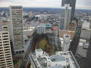 Invest Atlanta's new office overlooks Woodruff Park, to the south.
