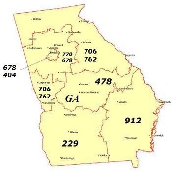 Map of area codes in Georgia today (Credit: Public Service Commission).