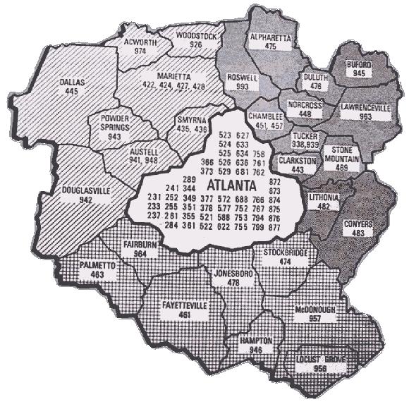 Map of 1965 Atlanta phone numbers.
