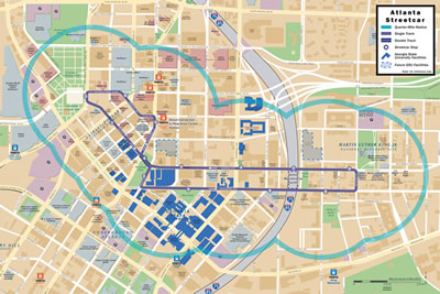 Map shows route of the Atlanta Streetcar