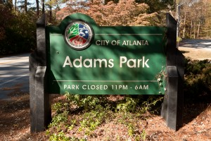 This monument welcomes visitors to Adams Park. Credit: Ga. DNR