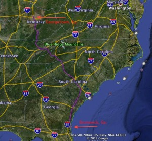 Toyota will ship vehicles from Kentucky to Brunswick, and on to Russia and Ukraine. Credit: Google Earth, David Pendered