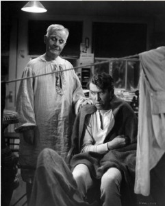 """Clarence the angel (Henry Travers) and George Bailey (Jimmy Stewart) in the 1946 film, """"It's a Wonderful Life."""""""
