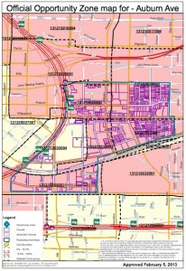 These are the boundaries of the new opportunity zone the state created along Auburn Avenue. Credit: DCA