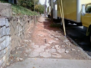 More than 1,200 miles of sidewalks in Atlanta are in need of repair, according to a city report. Credit: PEDS