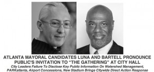 """Mayoral candidates Al Bartell and Paul Luna plan to convene what they call a """"gathering"""" Friday at Atlanta City Hall to discuss issues of open government. Credit: Bartell/Luna"""