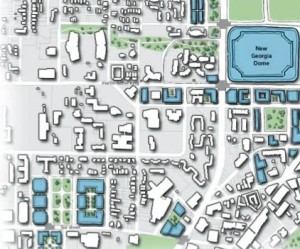 A Georgia Tech study calls for new greenways to be built west of the new stadium as part of a neighborhood improvement program. Credit: Georgia Tech