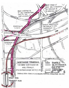The Georgia Tech suggests a relatively low-cost solution for improving connectivity at the junction of Northside Drive and I-20. Credit: Georgia Tech