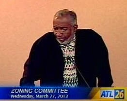 Atlanta resident Ron Shakir raises questions to the Zoning Committee of the Atlanta City Council. Credit: City of Atlanta