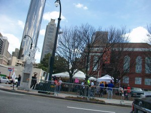 Vendors were well regulated, and pedestrians protected from vehicles, along Centennial Olympic Park Drive, across from the park. Credit: David Pendered