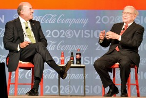 Coca-Cola CEO Muhtar Kent interviews Warren Buffett (Photo by Michael Pugh/Coca-Cola)