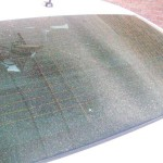 Photo of pollen-covered windshield on April 10 at Kirkwood Car Wash