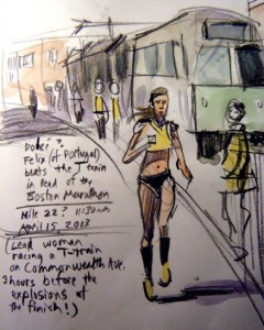 Atlanta artist Walter Cumming drew this sketch of the lead female runner hours before the explosion. Credit: waltercumming.wordpress.com