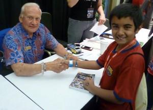 Qayl Maherali meets Buzz Aldrin