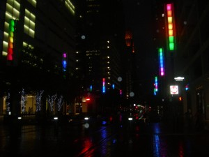 Colorful lights tell people on Main Street that a rail car is coming - night view (Photo: Maria Saporta)