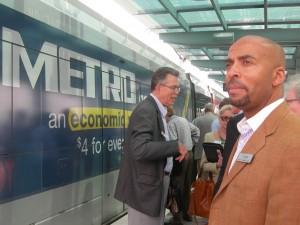 MARTA CEO Keith Parker prepares to board Houston's METRORail (Photo: Maria Saporta)