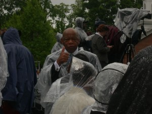 U.S. Rep. John Lewis gives thumbs up while waiting for Morehouse Commencement ceremony to begin (Photo: Maria Saporta)