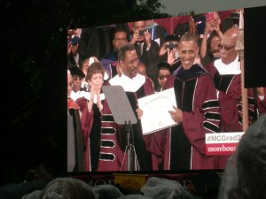 President Obama is all smiles as he accepts honorary degree from President Wilson making him a Morehouse Man