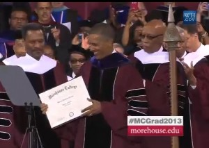 President Obama receives an honorary law degree from Morehouse College President John S. Wilson. Credit: whitehouse.com
