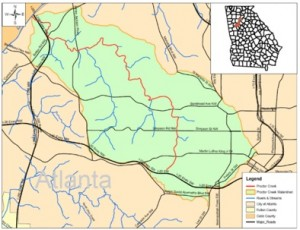 The Falcons stadium neighborhoods will benefit from the inclusion of the Proctor Creek basin, in green, in the federal Urban Waters Partnership Program. Credit: City of Atlanta