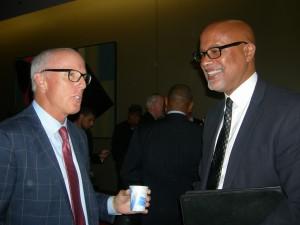 Rich McKay, president of the Atlanta Falcons, talks to architect Christopher Goode (Photo: Maria Saporta)