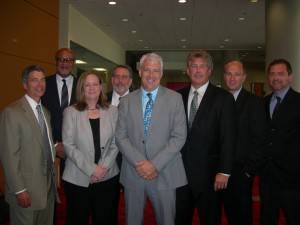 Architectural team that will design the new Falcons stadium - from left to right: Paul Van Slyke, Christopher Goode, Kimberly Stanley, Don Glitsis, Bill Johnson, Mark Carter, Robert O'Keefe and Robert Bielamowicz (Photo by Maria Saporta)