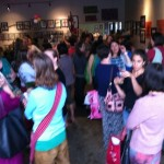 Photo of Shoppers mingle before the April 28 swap at Hodgepodge Coffeehouse in East Atlanta.