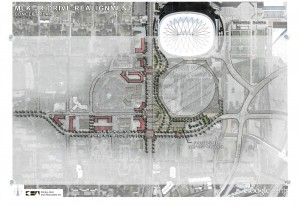 Map of how Martin Luther King Jr. Drive could be realigned to make enough room for new stadium and Friendship Baptist Church