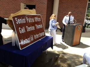 GDOT will install this sign soon to honor fallen Atlanta Senior Police Officer Gail Denise Thomas, who was struck and killed by a drunken driver at the intersection of southbound I-75 and northbound I-85. Credit: Atlanta Police Department