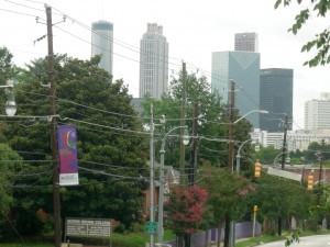 View of downtown from the Morris Brown pedestrian bridge