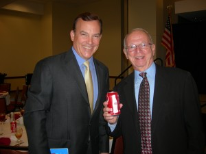Clyde Tuggle and Phil Mooney, with required Coke can, after Atlanta Rotary talk
