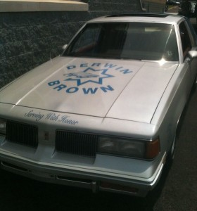 """Photo of Mickey Brown customized his Oldsmobile Cutlass to honor his father, calling it the """"Derwin Brown tribute car."""""""