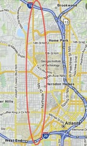 Georgia Tech has produced a redevelopment plan for Northside Drive in the core of Atlanta. This simple map shows Northside Drive running mainly in the red oval, parallel to the Downtown Connector, between I-75 and I-20. Credit: Mapquest/David Pendered