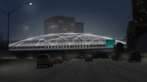 This rendering shows the concept of planned lighting improvements of the Peachtree Street bridge that are intended to improve the experience of entering Atlanta from the south.