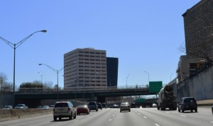 The existing Peachtree Street bridge adds little scenic beauty to the view from the northbound lanes of the Downtown Connector.