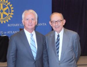 Jim Rubright and Brad Currey at the Rotary Club of Atlanta (Photo from Atlanta Rotary)