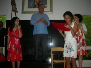 Rosa, Gene and Norrene listen as Josie Duffy reads letter from President Barack Obama
