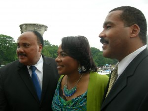 Martin, Bernice and Dexter King after the 50th anniversary event
