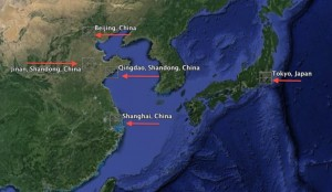 Gov. Nathan Deal's trade mission is focused on three cities in China (excluding Beijing) and Tokyo. Credit: Google Earth, David Pendered
