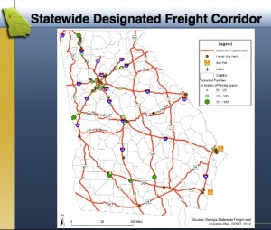 Georgia's DOT voted last week to designate the roads marked in red as freight corridors, which can be improved without funding restraints the state had previously imposed. Credit: GDOT